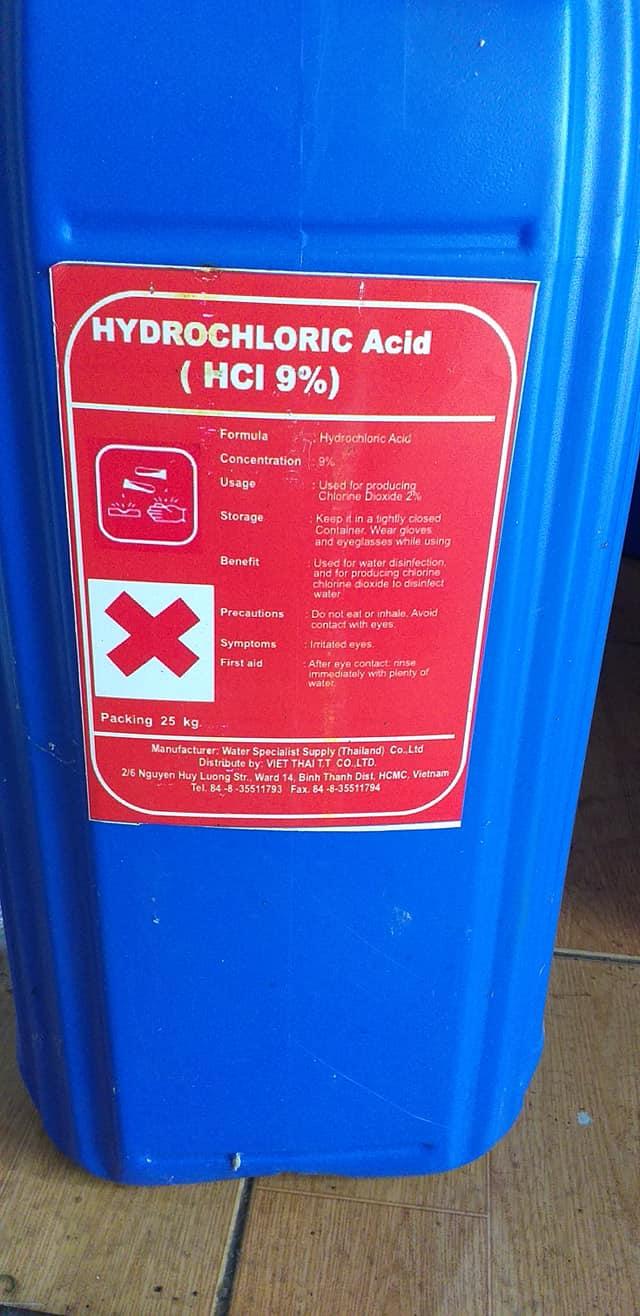 Hóa chất Hydrochloric Acid HCL 9% và Sodium Chlorite (NaCLO2) 7.5%