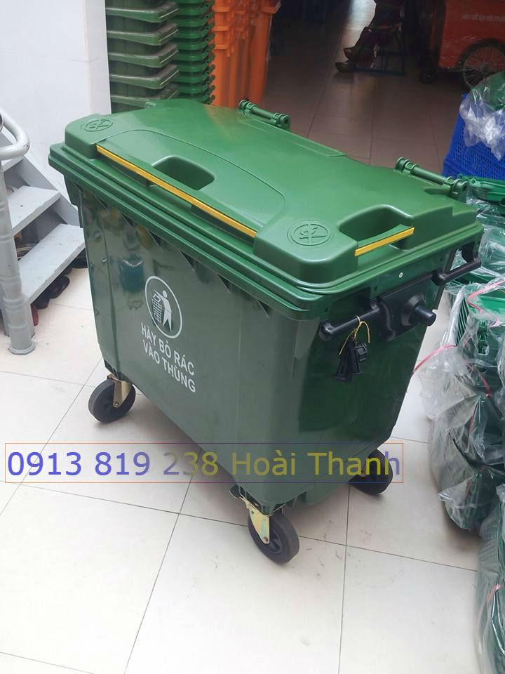 Xe đẩy gom rác 660 lit bằng nhựa