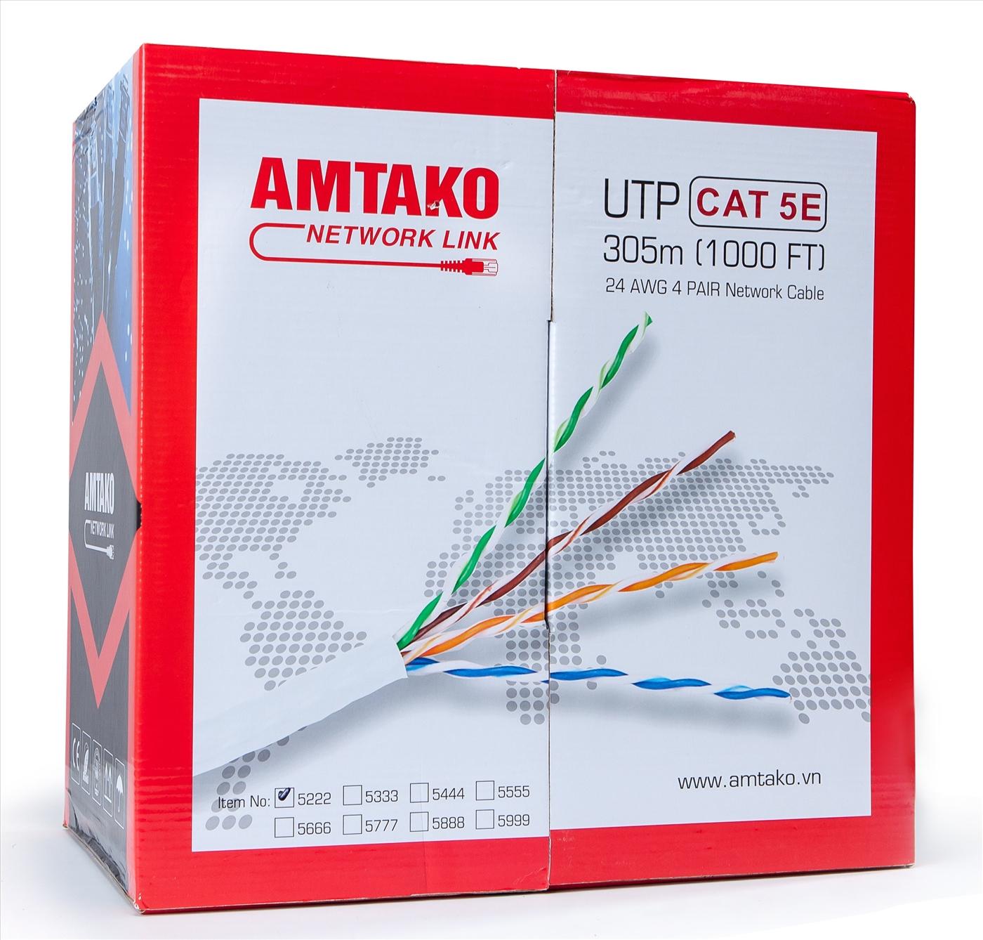 Cáp mạng Cat 5e AMTAKO 5877 dây trắng 305 m